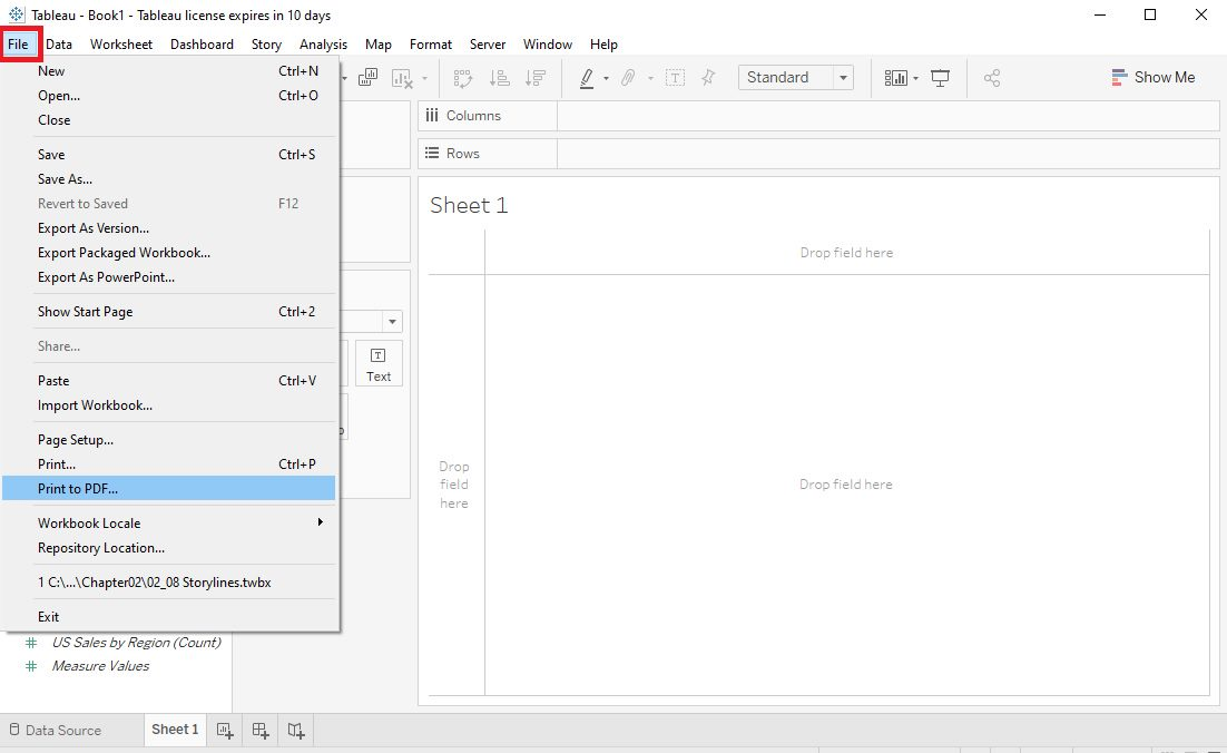 Tableau Workbook save as pdf Step 1